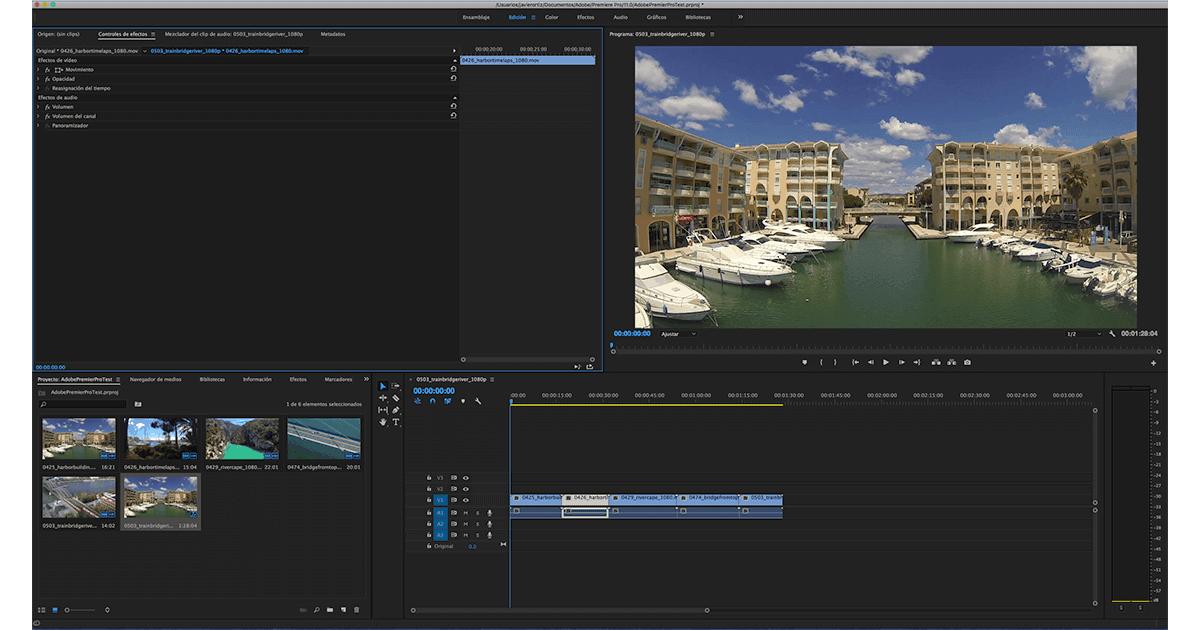 Programa de edición de video adobe premier pro