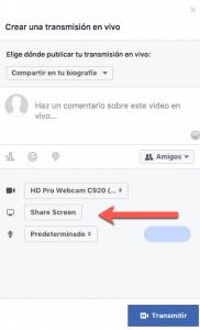 facebook screen sharing option