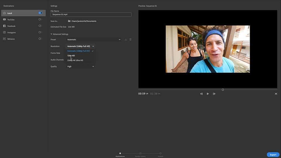 Adobe Premier Rush Exportar