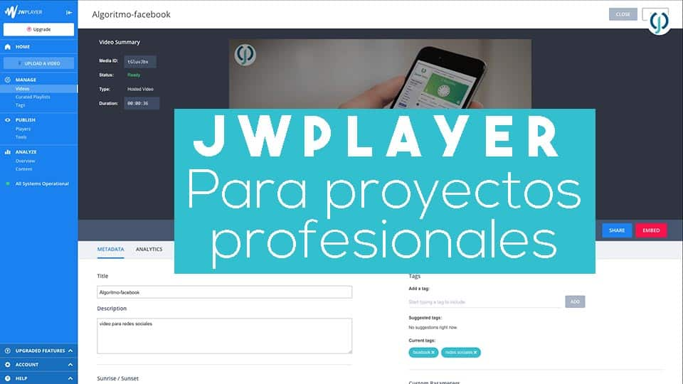 JWPlayer - reproductor de videos